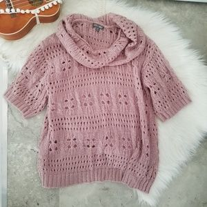 Roz & Ali Sweaters - Roz & Ali Pink Open Knit Cowl Neck Sweater 1X